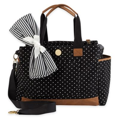 Mud Pie Bigger Bundle Mini Dot Diaper Bag in Black