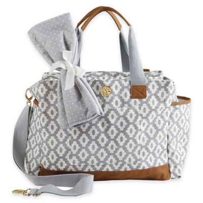 Mud Pie Bigger Bundle Geo Dot Diaper Bag in Grey