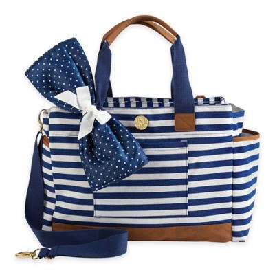 Mud Pie Bigger Bundle Striped Diaper Bag in Navy