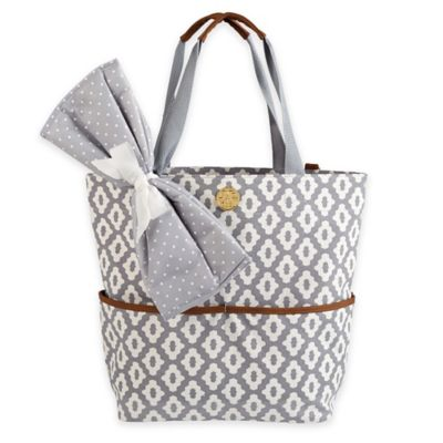 Mud Pie® Big Bundle Geo Dot Diaper Tote in Grey