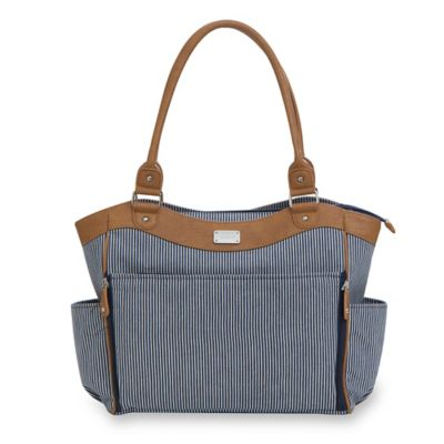 carter's® Drop Front Tote Diaper Bag in Blue and White Ticking Stripe