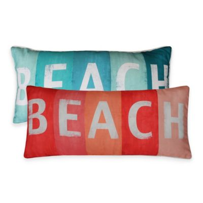 "Thro ""Beach"" Printed Sign Oblong Throw Pillow in Coral"