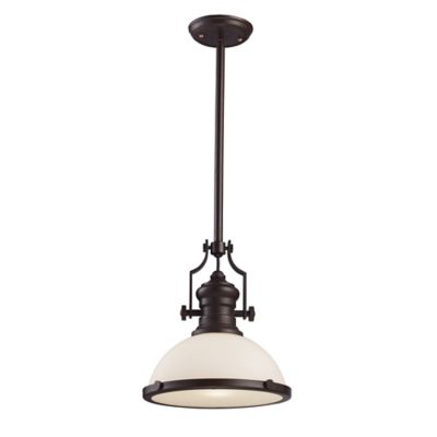 ELK Lighting Chadwick 1-Light 17-Inch Pendant in Oil-Rubbed Bronze with Glass Shade