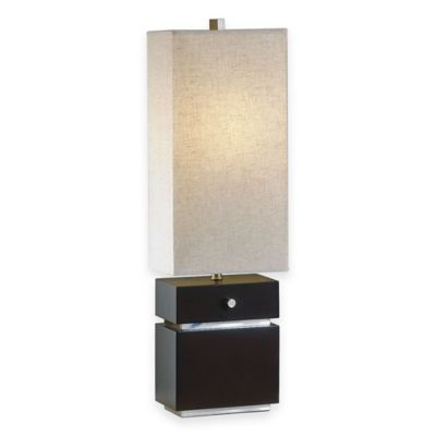 NOVA Lighting Waterfall Table Lamp in Brown with Linen Shade