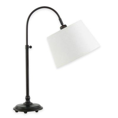 Fangio Lighting Adjustable Arch Table Lamp in Oil-Rubbed Bronze with Hardback Shade