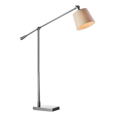 Fangio Lighting Adjustable Floor Lamp in Satin Nickel with Hardback Shade
