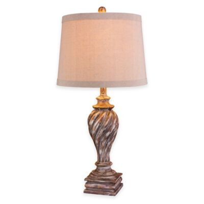Fangio Lighting Resin Table Lamp in Antique White with Hardback Shade