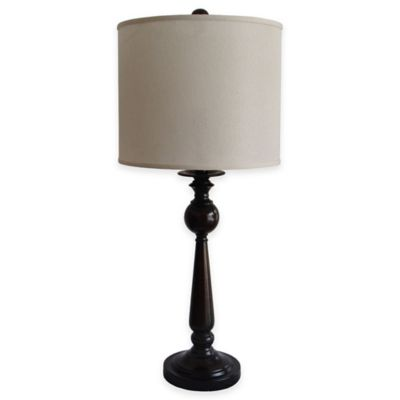 Fangio Lighting Metal Table Lamp in Black with Linen Shade