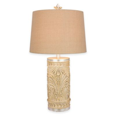 Fangio Lighting Leaf Table Lamp in Cream with Linen Shade