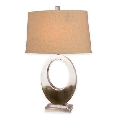 Fangio Lighting Open Oval Table Lamp in Brushed Steel with Linen Shade