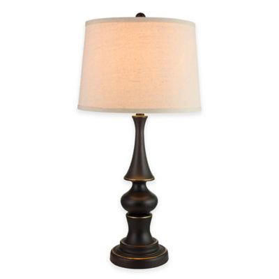 Bronze with Linen Shade Home Decor