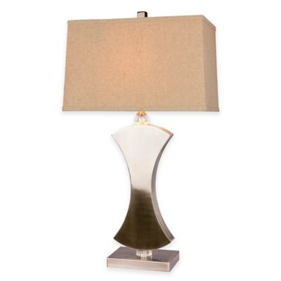 Fangio Lighting Metal & Crystal Table Lamp in Brushed Steel