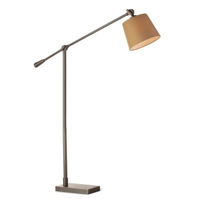 Fangio Lighting Adjustable Metal Floor Lamp in Bronze with Linen Shade