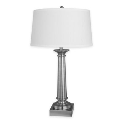 Fangio Lighting m.r. lamp and shade's Tapered Column Table Lamp in Satin Nickel