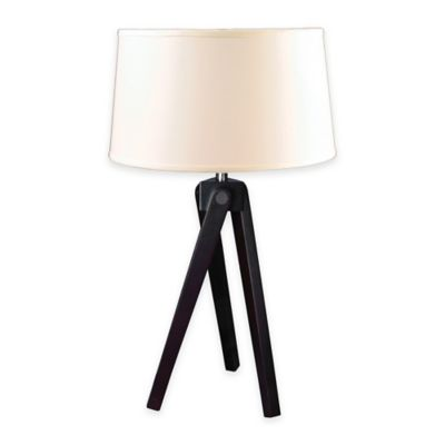 Fangio Lighting m.r. lamp and shade's 28-Inch Wood Tripod Table Lamp in Espresso