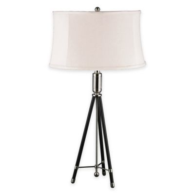 Fangio Lighting m.r. lamp and shade's 31-Inch Black Tripod Metal Table Lamp in Polished Nickel