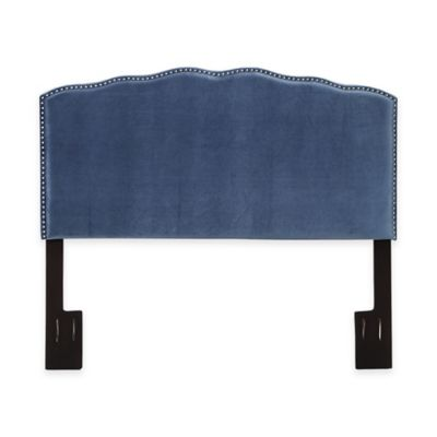 Pulaski Chelsea Nail Head Shaped Upholstered Queen Headboard in Velvet Indigo