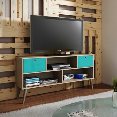 Manhattan Comfort Uppsala TV Stand in Aqua/Oak