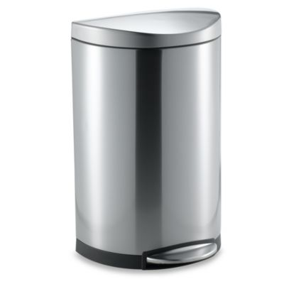 simplehuman® Brushed Stainless Steel Fingerprint-Proof 40-Liter Semi-Round Step Trash Can
