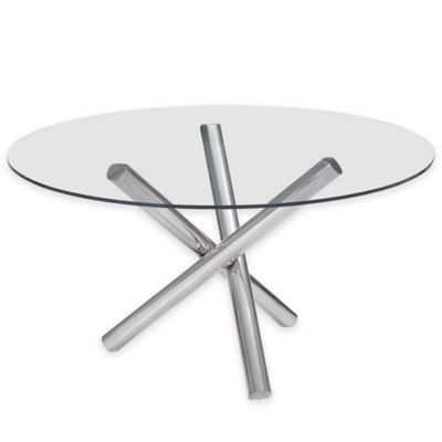 Zuo® Stant Round Dining Table in Chrome