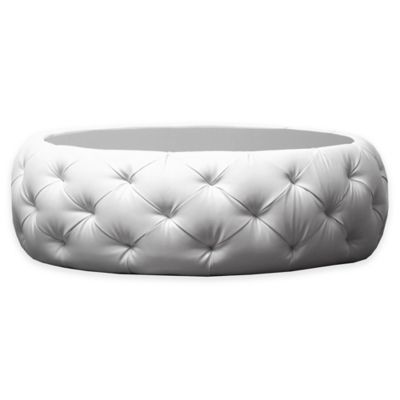 Abbyson Living® Furrinno Round Leather Coffee Table in White