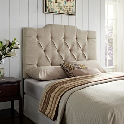 Pulaski Nantucket Panel Tufted Linen Full/Queen Headboard in Tan