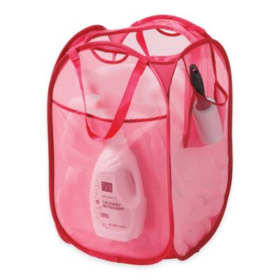 Pop Up Mesh Laundry Hamper in Pink