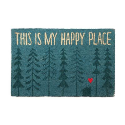 """This is My Happy Place"" 18-Inch x 30-Inch Coir Door Mat"