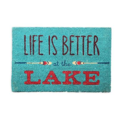 """Life Is Better at the Lake"" 18-Inch x 30-Inch Coir Door Mat"