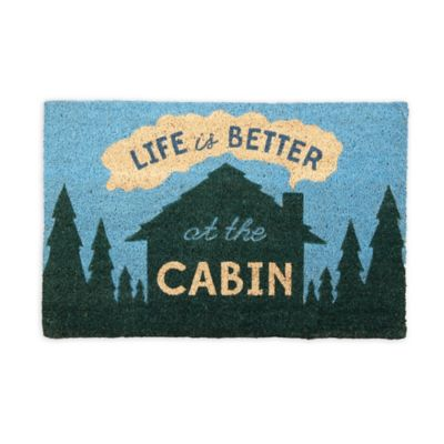 """Life is Better at the Cabin"" 18-Inch x 30-Inch Coir Door Mat"