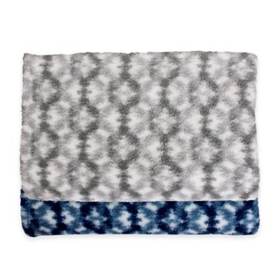 Thro Quinto Sherpa Printed Throw Blanket in Navy