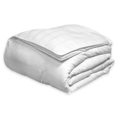 600-Thread-Count Reversible Cotton Damask Windowpane Twin Down Alternative Comforter in White