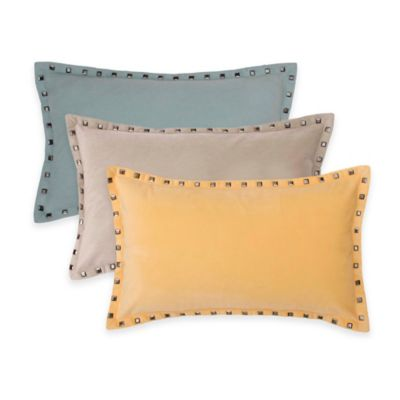 Thro Payton Velvet Nailhead Oblong Throw Pillow in Yellow