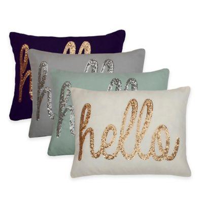 """Thro """"Hello"""" Sequin Script Throw Pillow in Grey/Silver"""