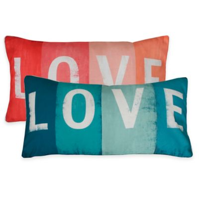 """Thro """"Love"""" Sign Oblong Pillow in Coral"""
