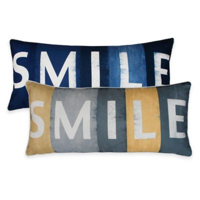 "Thro ""Smile"" Printed Sign Oblong Throw Pillow in Yellow"