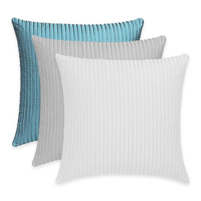 Frette At Home Tiber Ricamo Square Throw Pillow in Blue