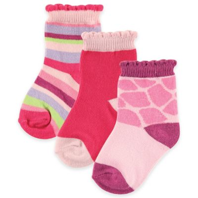 BabyVision® Luvable Friends® Size 0-6M 3-Pack Fun Fashion Sock Set in Pink