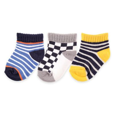 BabyVision® Luvable Friends® Size 0-6M 3-Pack Novelty No-Show Socks in Blue/Brown/Yellow