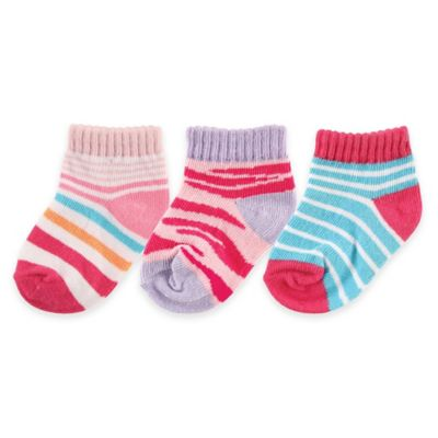 BabyVision® Luvable Friends® Size 0-6M 3-Pack Novelty No-Show Socks in Pink/Red/Blue