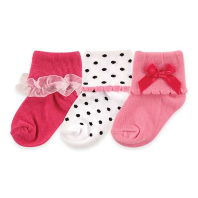 BabyVision® Luvable Friends® Size 12-24M 3-Pack Girly Socks in Dark Pink
