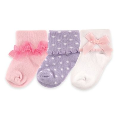 BabyVision® Luvable Friends® Size 0-6M 3-Pack Girly Socks in Light Pink