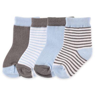BabyVision® Luvable Friends® Size 0-6M 4-Pack Basic Socks in Light Blue