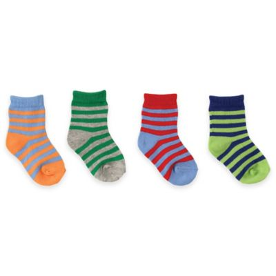 BabyVision® Luvable Friends® Size 0-6M 4-Pack Colorful Socks in Blue/Green/Red/Orange