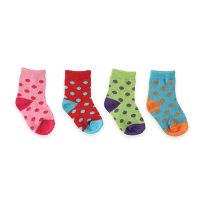 BabyVision® Luvable Friends® Size 6-12M 4-Pack Colorful Socks in Pink/Red/Green/Blue