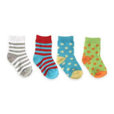 BabyVision® Luvable Friends® Size 0-6M 4-Pack Colorful Socks in Teal/Red/Green