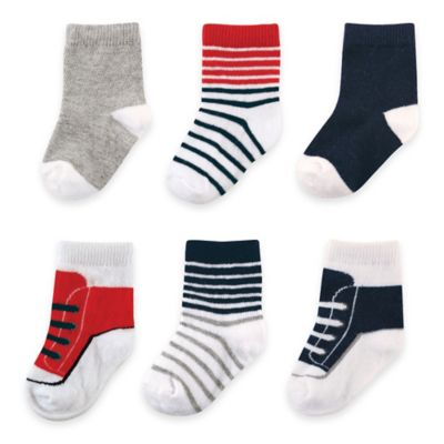 BabyVision® Luvable Friends® Size 0-6M 6-Pack Boys Dressy Socks