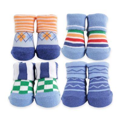 BabyVision® Luvable Friends® Size 0-6M 4-Pack Novelty Sock Gift Set in Blue