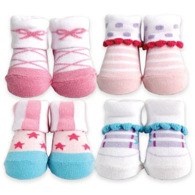 BabyVision® Luvable Friends® Size 0-9M 4-Pack Shoes Novelty Socks Gift Set