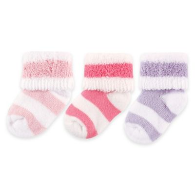 BabyVision® Luvable Friends® Size 0-3M 3-Pack Stripe Terry Socks in Pastel